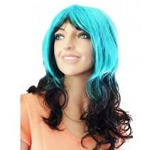 Pruik lang haar blauw/zwart Kristie