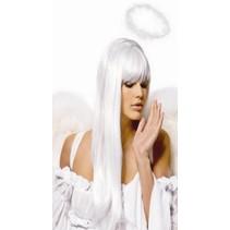 Pruik wit lang haar Tyra