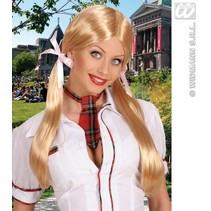 Pruik Schoolmeisje blond