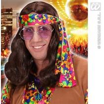 Pruik Hippie bruin Lennon
