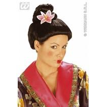 Pruik Fujiko met bloem