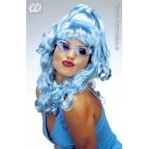 Pruik Kelly blauw
