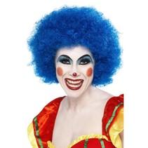 Pruik Afro Clown blauw