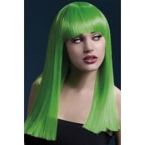 Professionele pruik lang neon groen Alexia