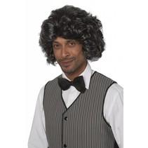 Heren pruik Benni grijs/zwart