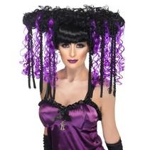 Gothic emo pruik paars/zwart