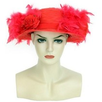 Organza hoed rood met boa en bloemen