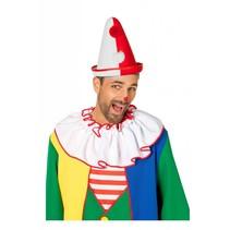 Pierrot hoed rood/wit