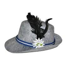 Beierse hoed grijs met veer