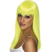 Glamourama pruik neon geel