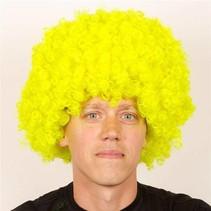 Pruik krullenbol groot geel