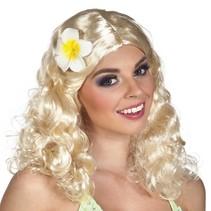 Pruik Leilani blond met bloem