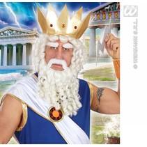 Pruik Zeus met baard, snor en wenkbrauwen