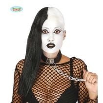 Pruik Zwart/Wit Lang Halloween