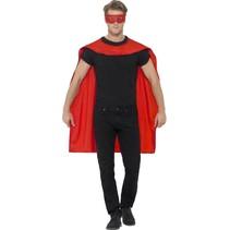 Helden cape met masker rood