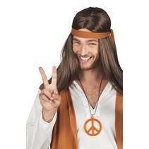 Hippie ketting fluor oranje