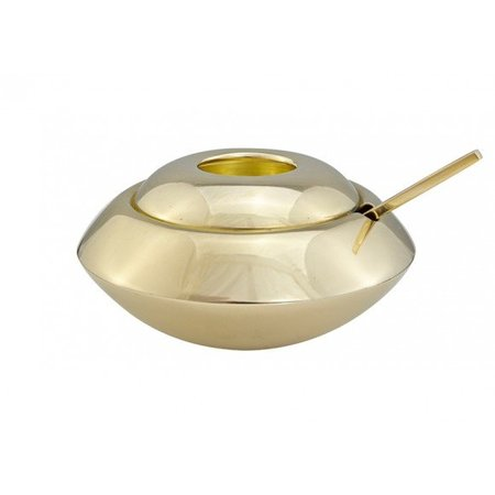 TOM DIXON FORM SUGAR BOWL AND SPOON BRASS
