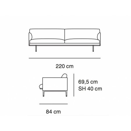 MUUTO OUTLINE SOFA / 3 SEATER