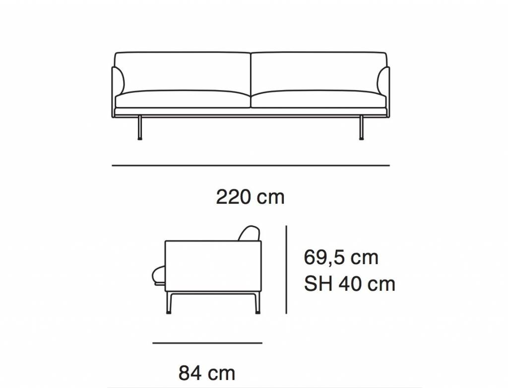 Muuto Outline Sofa 3 Seater Nordic New