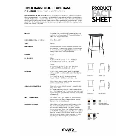 MUUTO FIBER BAR STOOL LEER / TUBE BASE 65CM