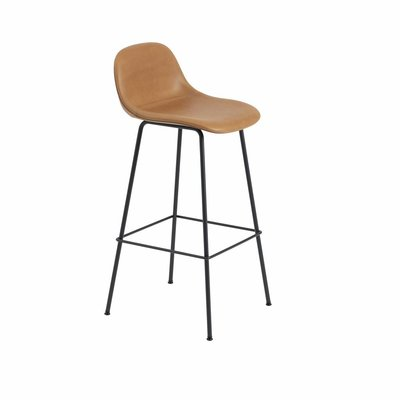 MUUTO FIBER BAR STOOL LEATHER W.BACKREST/TUBE BASE