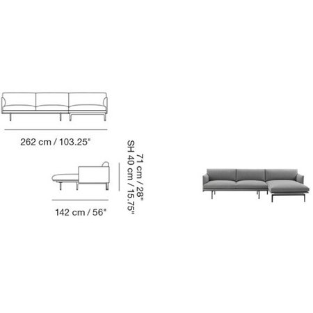 MUUTO OUTLINE SOFA/CHAISE LONGUE - RICHT