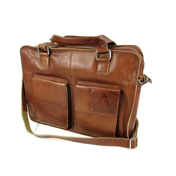 "Heren laptoptas 17"" TWO POCKET XL Cognac"