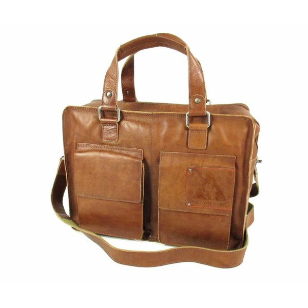 "Heren laptoptas 15,6"" TWO POCKET L Cognac"