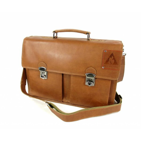 "Leren business tas laptoptas OLD SKOOL 15,6"" cognac"