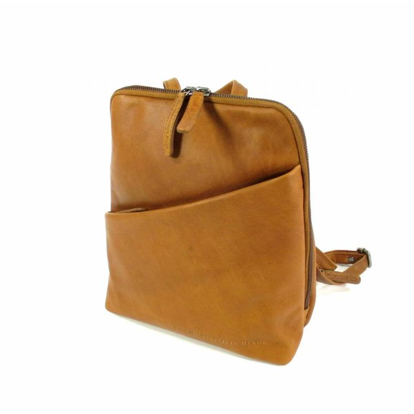 Leren back Pack Dames Maria Wax Pull up Cognac