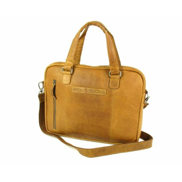 Dames schoudertas laptoptas Maria Wax Pull Up Cognac