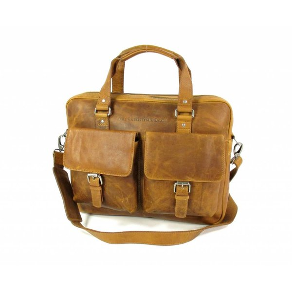 Trendy heren documententas laptoptas GEORGE Wax Pull Up Cognac