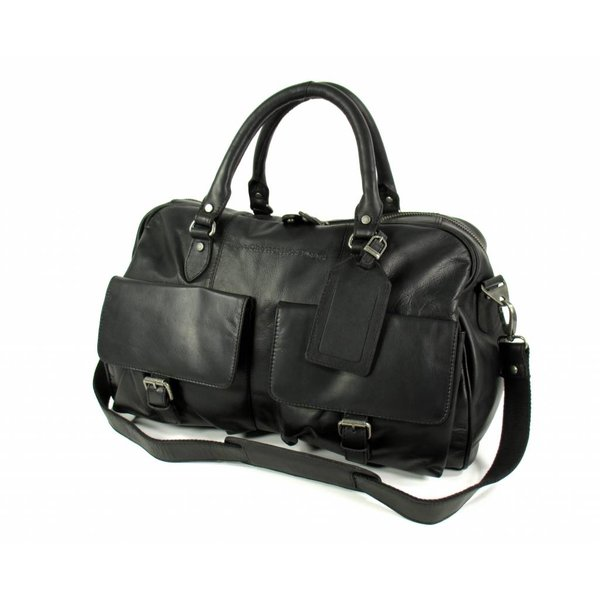 Travelbag weekendtas William Wax Pull up leer Zwart