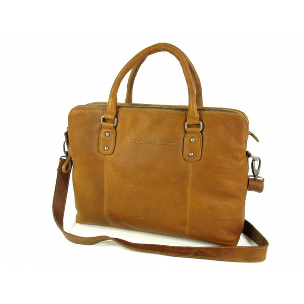 Documenten laptoptas MARIA Wax Pull Up Cognac