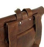 LEATHER DESIGN Heren rugzak met rol topsluiting Bruin