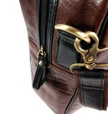 LEATHER DESIGN Retro leren sporttas weekendtas cognac zwart