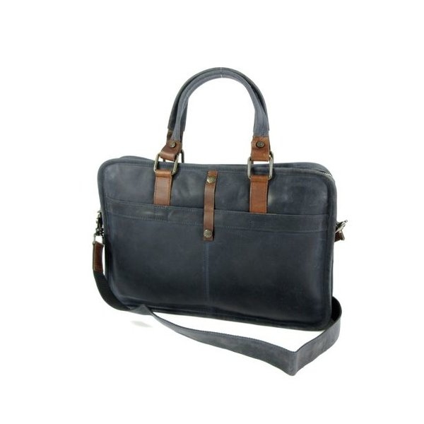 "Used look leren 13"" laptoptas business tas werktas RUVIDO Navy"