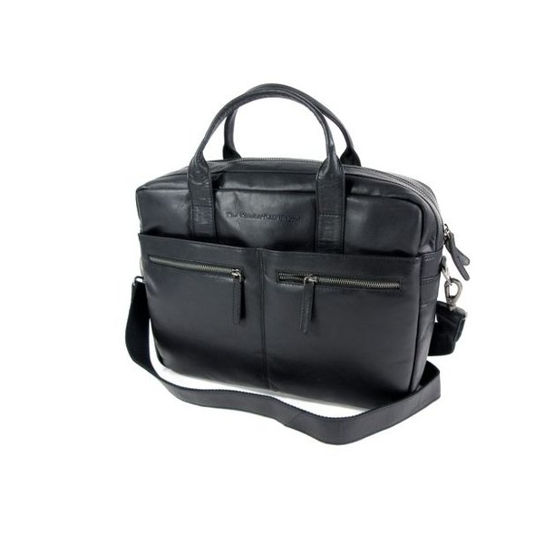 business tas laptoptas JAKE wax pull up Zwart
