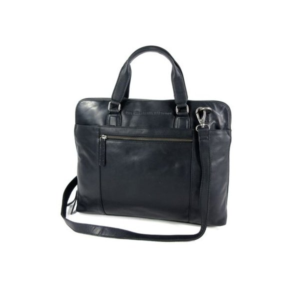 Ruime dames office bag L HANA wax ull up zwart