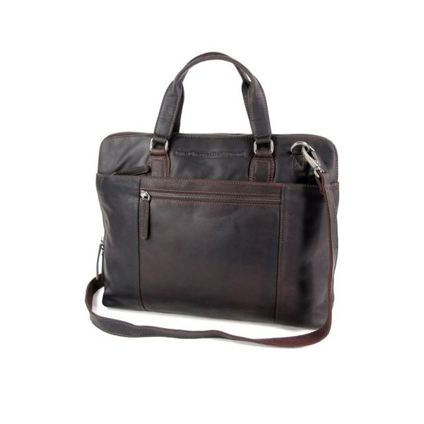 Ruime dames office bag L HANA wax pull up Bruin