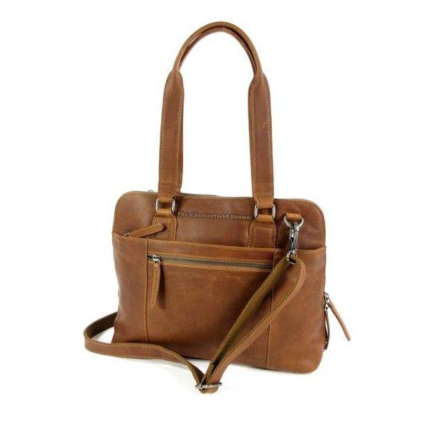 Compacte dames office bag M CARA wax ull up cognac