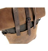 LEATHER DESIGN Stoere leren hunter rugzak laptoptas HIPSTER Bruin