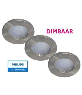 Philips Set van 3 stuks badkamer inbouwLEDspot 12V 6,5W arm.+spot (IP65), dimbaar