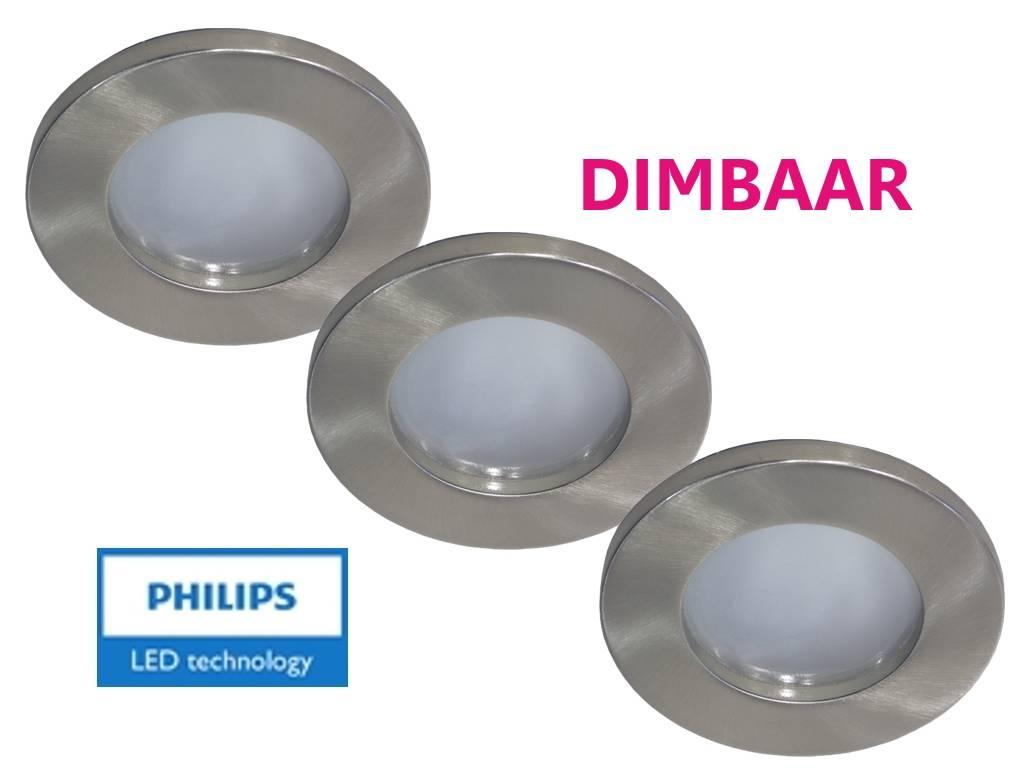 Philips 3 stuks badkamer inbouwledspot 12v 7w arm spot ip65 dimbaar 123ledspots - Spot led ip65 12v ...