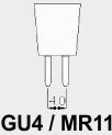 GU4/MR11 fitting.