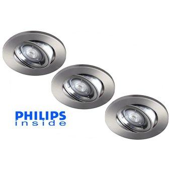 Philips 3 stuks Inbouwledspot 4W dimbaar en kantelbaar