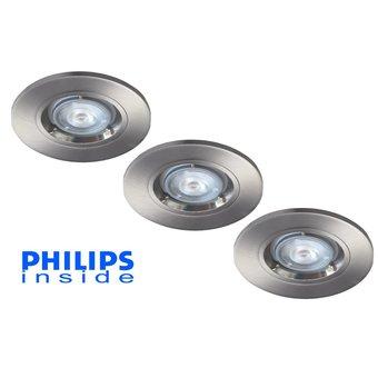 Philips 3 stuks Inbouwledspot 5,5W dimbaar niet kantelbaar