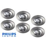 Philips 6 stuks Inbouwledspot 4W dimbaar en kantelbaar
