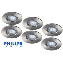 Philips 6 stuks Inbouwledspot 5,5W dimbaar niet kantelbaar