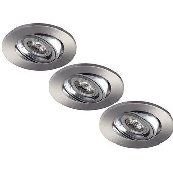 Set van 3 stuks LED inbouwspot 5W dimbaar, kantelbaar